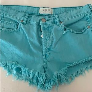 Free People Blue Cut Off Cheeky Jean Shorts Sz 27